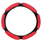 3D Suede Fabric Car Steering Wheel Cover - Red + Black (38cm-Diameter)