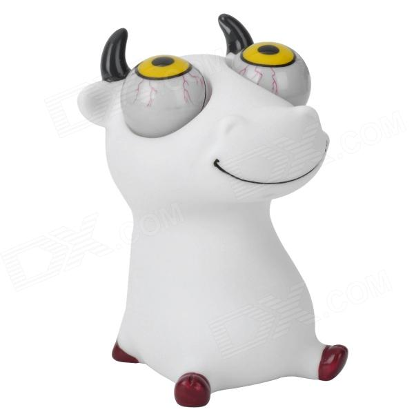 Cartoon Cow Doll Eyes Pop Out Stress Reliever Relief Squeeze Toy - White