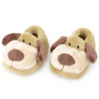 Dog Pattern Baby Non-Slip Plush Shoes - Dark Green (1 Pair / 10cm)