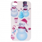 Walking Stick Snowman Pattern Protective Hard Plastic Back Case for Iphone 4 / 4S - White + Blue