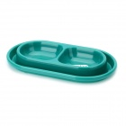Cute Pet Dog Border Dual Food Dish Bowl - Blue