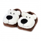 Bear Pattern Baby Non-Slip Plush Shoes - Brown (1 Pair / 12cm)