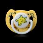 Star Pattern Flat Mouth Baby Pacifier Nipple - Yellow + White