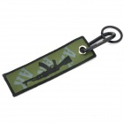 Rifle Woven Label Multifunction Carabiner Clip Keychain Set - Black + Green