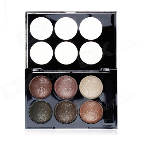Portable 6-Color Shimmer Powder Eye Shadow Set - Brown Series