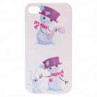 Protective Cute Snowman & Rabbit Pattern Plastic Back Case for Iphone 4 / 4S - White