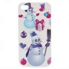 Broom Snowman Pattern Protective Hard Plastic Back Case for iPhone 4 / 4S - White + Purple