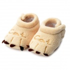 Cat Claw Pattern Baby Toddler Plush Shoes - Light Yellow (1 Pair/ 11.5cm)