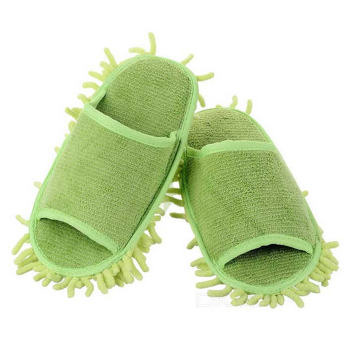 Lazy Chenille Detachable Washable Mop Slippers w/ Bottom Paste - Green sharpener polishing wax paste metals chromium oxide green abrasive paste chromium oxide green polishing paste