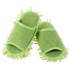 Lazy Chenille Detachable Washable Mop Slippers w/ Bottom Paste - Green