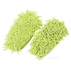 Chenille Lazy desmontable Zapatillas Mop lavable w / Bottom Paste - Verde