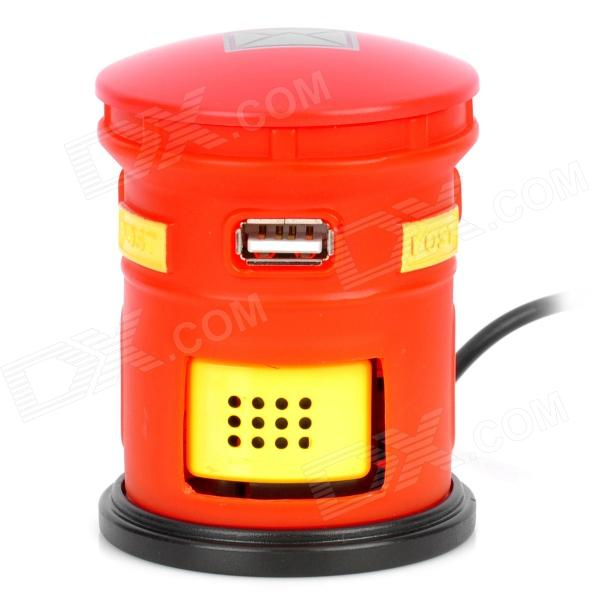 Post Box Design Hi-Speed USB 2.0 3-Port Hub Webmail Notifier - Red + Yellow