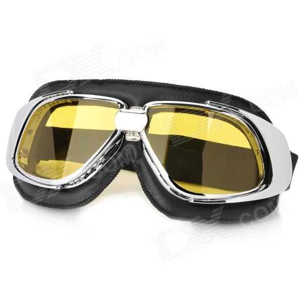 Fashion Yellow PC Lens Safety Motorcycle Goggles