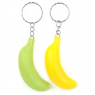 Banana Style Mini LED Flashlight w/ Keychain - Yellow + Green (3 x LR41 / 2 PCS)