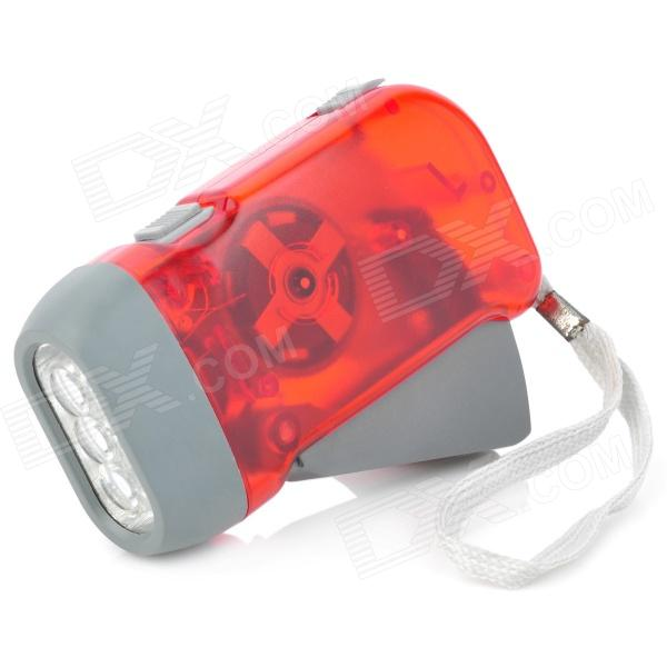 Hand Crank Battery-Free Dynamo White 3-LED Flashlight - Red