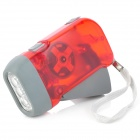 Hand Crank Battery-Free Dynamo White 3-LED-Taschenlampe - Red