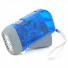 Hand Crank Battery-Free Dynamo White 3-LED-Taschenlampe - Blue