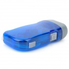 Hand Crank Battery-Free Dynamo White 3-LED Flashlight - Blue