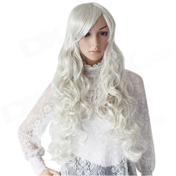 Fashion Long Curly Hair Wigs - Silver 8 colours colorful curly hair party cosplay long wavy wigs