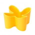 Multifunction Clover Style Plastic Remote Control Storage Box - Yellow