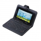 Protective PU Leather 80-Key Keyboard Carrying Case with Stand &amp; Stylus for 7&quot; Tablets - Black