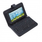 "Protective PU Leather 80-Key Keyboard Carrying Case with Stand & Stylus for 7"" Tablets - Black"