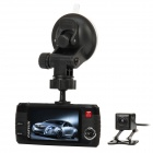 "L3000 2.7"" TFT 3.0MP Wide Angle Dual Lens Car DVR Camcorder w/ 4-LED IR Night Vision - Black"