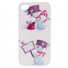 Billboard Snowman Pattern Protective Hard Plastic Back Case for iPhone 4 / 4S - White + Purple
