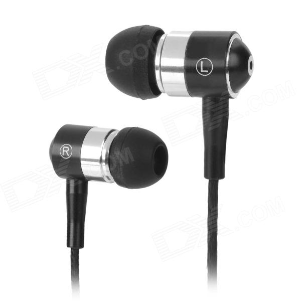 Moskye-L-BK Zipper Style Stereo In-Ear Earphone - Black + Silver (3.5mm / 150cm)