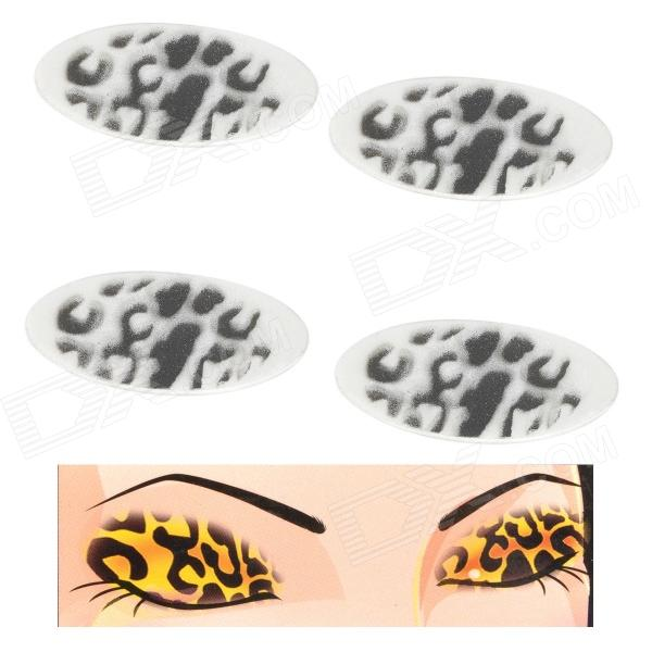 MAXDONA YYT-7-2 Leopard Pattern Makeup Mineral Eye Shadow Stickers - White + Black (2 Pairs)