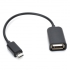 5-Pin Micro USB Male to USB Female Data / Charging Cable - Black (21cm)