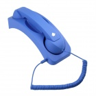 Radiation Prevention Retro Telephone Style Headset w/ Microphone / Speaker - Blue (3.5mm Jack)
