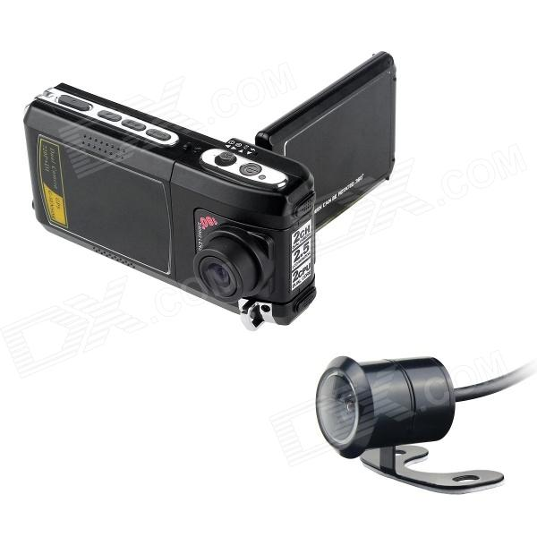 "F900AV 2,5 ""TFT 5.0MP CMOS 720P Wide Angle Car DVR Camcorder w / Car Charger - Black (DC 12 ~ 24V)"
