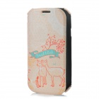 Rock Forest Deer Pattern Protective PU / Fiber Flip-open Case for Samsung i9300 - Light Orange