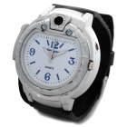 Creative 2-in-1 Silicone Band Quartz Wristwatch + Butane Lighter - Black + Silver + White (1 x 377)