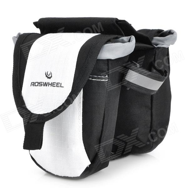 Outdoor Bike Bicycle Top Tube Double Bag - Black + White roswheel 12659 waterproof cycling bicycle pu top tube double storage bag black