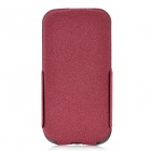 Rock Ultra-Thin Protective PU / Fiber Top Flip-open Case for Samsung i9300 - Wine Red