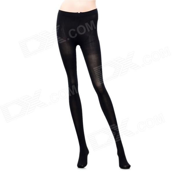 Fashion Velvet Nylon High Pantyhose Stockings for Women - Black