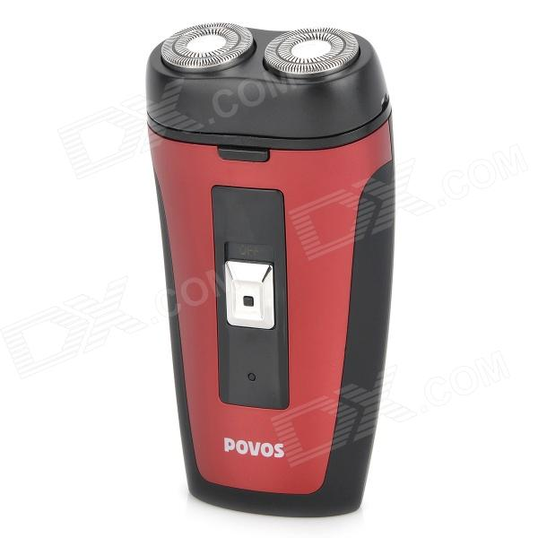POVOS PW902 Electric 2-Blade-Head Rotating Shaver Razor - Red 2 head 110v 220v commercial use electric belgian liege waffle baker maker machine