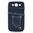 Jeans Pocket Pattern Protective ABS Case for Samsung Galaxy S3 i9300 - Deep Blue