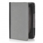Protective PU Leather Case w/ 2-LED White Light for Kindle 4 - Grey