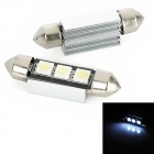 Festoon 39mm 1W 80lm 3x5050 SMD LED White Light Decode Car Tail / Reading / Door Lamps (2 PCS)