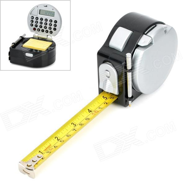 Portable Multifunction 5-in-1 Tape Measure + Calculator + Light + Ball-point Pen + Notepaper