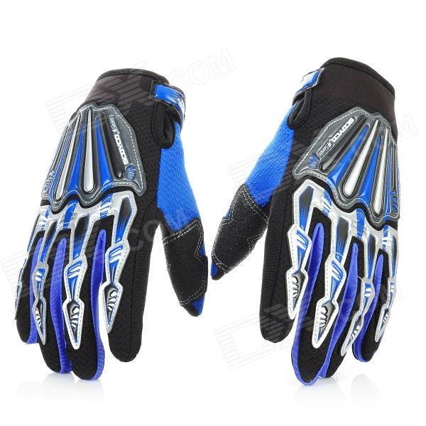 Scoyco Stylish Full-Finger Motorcycle Gloves - Black + Blue (Pair / L Size) universal nylon cell phone holster blue black size l