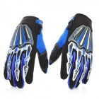 Scoyco Stylish Full-Finger Motorcycle Gloves - Black + Blue (Pair / L Size)