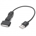 3-in-1 USB Male to Mini USB + Micro USB + Apple 30-Pin Charging / Data Cable - Black