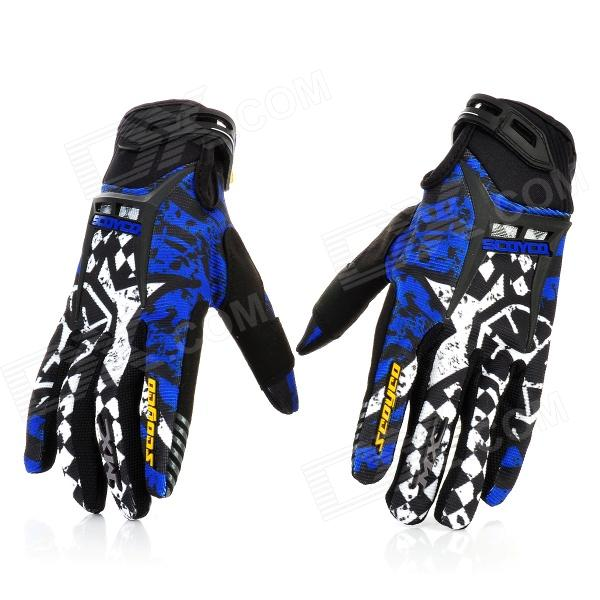 Scoyco Sporty Full-Finger Motorcycle Gloves - Black + White + Blue (Pair / L Size)