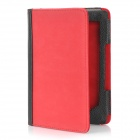 Protective PU Leather Case w/ 2-LED White Light for Kindle 4 - Red