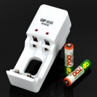 GP Rechargeable 2 x AAA 700mAh Ni-MH Batteries w/ AC Charger - White (2-Flat-Pin Plug / 220V)
