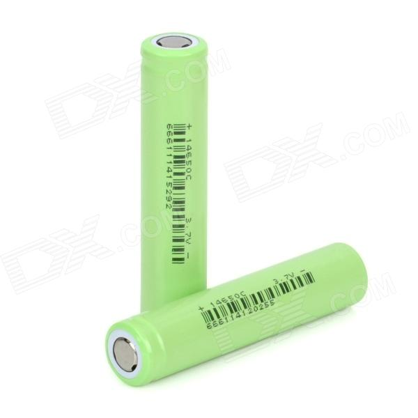 Replacement 3.7V 1200mAh Rechargeable 14650 Lithium Battery - Green (2 PCS)